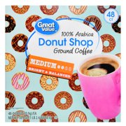 (2 Pack) Great Value Donut Shop 100% Arabica Medium Ground Coffee, 0.38 oz, 48 count