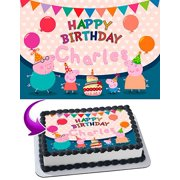 Peppa Pig Mummy Daddy George Edible Cake Topper Personalized Birthday