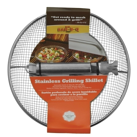 Stainless Steel Grill Basket - Mr. Bar-B-Q Stainless Steel Mesh Grilling Skillet - Removable Handle