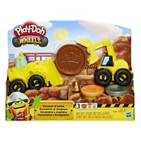Play-Doh Wheels Excavator and Loader Toy Construction Trucks with 3 Cans of Dough