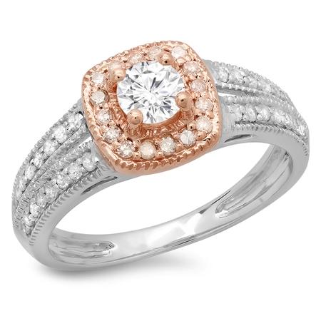 Dazzlingrock Collection 0.75 Carat (ctw) 14K Two Tone Gold Round Cut Diamond Split Shank Halo Engagement Ring 3/4 CT, Size 8.5 (14k White Gold Shank)