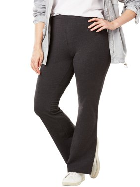 Woman Within Plus Size Stretch Cotton Bootcut Yoga Pant
