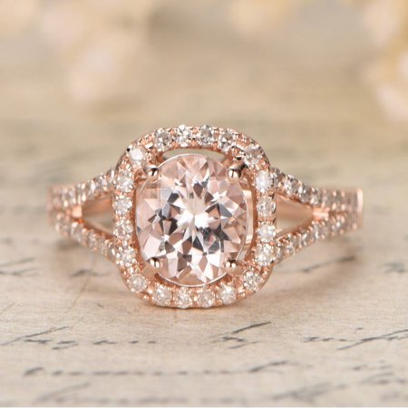 1.25 carat Morganite and Diamond Halo Engagement Ring in 10k Rose Gold for Women - Faux Diamond Rings