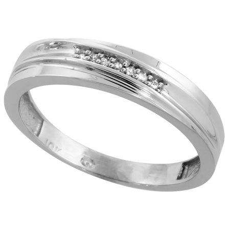 10k White Gold Mens Diamond Wedding Band Ring 0.04 cttw Brilliant Cut, 3/16 inch 5mm wide 10k Mens Diamond Band