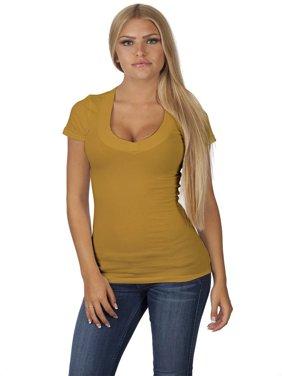 Emmalise Women's Deep V-Neck Short Sleeve T Shirts - Small to 3XL