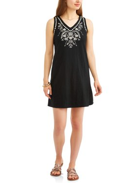 Product Image Moda Women\u0027s A-line Tank Dress with Embroidery Womens Daytime Dresses - Walmart.com