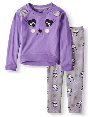 Colette Lilly Embroidered Panda Tunic and Printed Legging, 2-Piece Outfit Set (Little Girls)