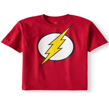 Red DC Comics Flash Logo with HD Ink Short Sleeve Tee (Little Boys & Big Boys) - Boy With Halo