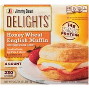 Jimmy Dean Delights® Canadian Bacon, Egg White & Cheese English Muffin Sandwiches, 4 Count (Frozen)