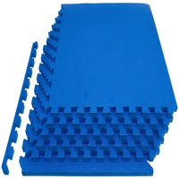 """Everyday Essentials 1/2"""" Thick Flooring Puzzle Exercise Mat with High Quality EVA Foam Interlocking Tiles, 6 Piece, 24 Sq Ft, Multiple Colors"""