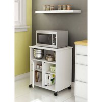 South Shore Smart Basics Microwave Cart with Storage on Wheels, Multiple Finishes