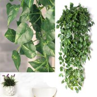 2 Bunch 4ft Artificial Silk Scindapsus Ivy Leaf Garland Plant Vine Foliage Decor Artificial Plants and Flowers