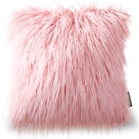 "Phantoscope Decorative New Luxury Series Merino Style Pink Faux Fur Throw Pillow Case Cushion Cover 18"" x 18"" 45cm x 45cm"