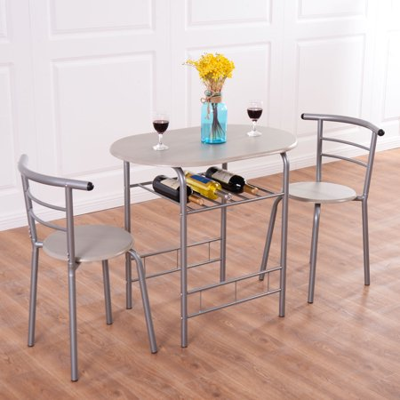 Costway 3 Piece Dining Set Table 2 Chairs Bistro Pub Home Kitchen Breakfast (Pub Furniture)