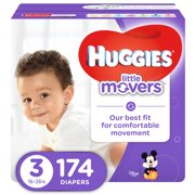 HUGGIES Little Movers Diapers, Size 3, 174 Diapers