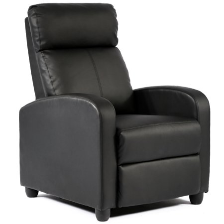 Recliner Chair Single Reclining Sofa Leather Chair Home Theater Seating Living Room Lounge Chaise with Padded Seat Backrest (Black) (Series Leather Swivel Recliner)
