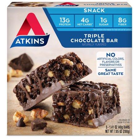 Atkins Triple Chocolate Bar, 1.41oz, 5-pack (Snack Bar)