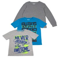 Short Sleeve Graphic Tees with Long Sleeve Solid, Value, 3-Pack Set (Little Boys & Big Boys)