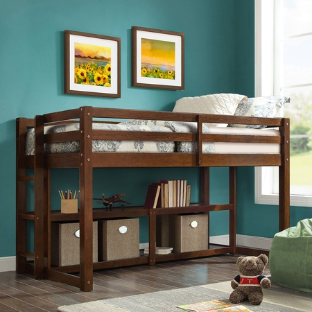 Better Homes and Gardens Greer Loft Storage Bed with Spacious Storage Shelves, Multiple Finishes - Low Loft Bunk Bed