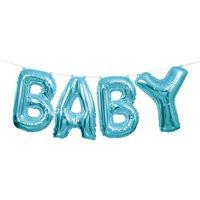 """""""Baby"""" Letter Balloon Banner Kit, Blue, 14in"""