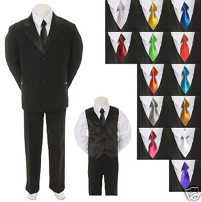 Baby Toddler Boy Black Formal Suit + EXTRA color TIE 6pc Tuxedo S M L XL 2T-20 - Pink Tuxedo