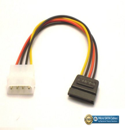 Molex 4 Pin Power to 15 pin SATA Female Adapter Cable - -