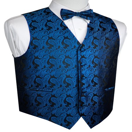 Men's Formal, Prom, Wedding, Tuxedo Vest, Bow-Tie & Hankie Set in Royal Blue (Mens Complete Tuxedo Shirt Tie)