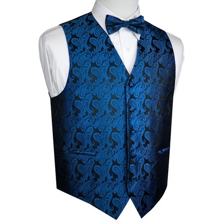 Men's Formal, Prom, Wedding, Tuxedo Vest, Bow-Tie & Hankie Set in Royal Blue Paisley