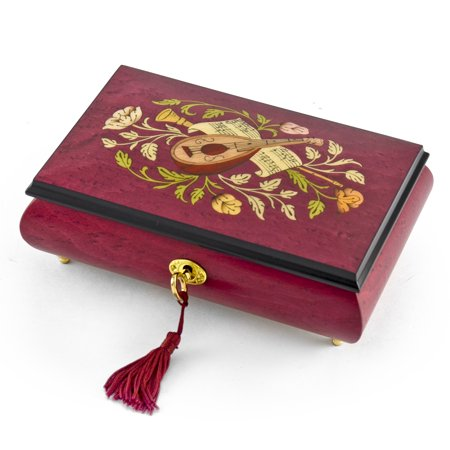 Gorgeous Red Wine Instrument and Floral Wood Inlay 30 Note Musical Jewelry Box HUGE SALE - Beautiful