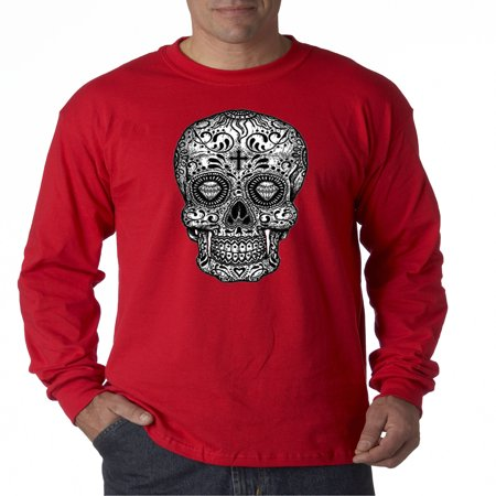 791 - Unisex Long-Sleeve T-Shirt Skull Day Of The Dead Skeleton Bones Medium Red