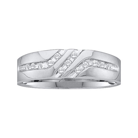 Personalized Mens Diamond (10kt White Gold Mens Round Channel-set Diamond Triple Row Wedding Band Ring 1/8 Cttw )