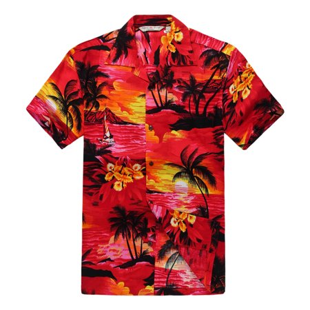 Men's Hawaiian Shirt Aloha Shirt L Sunset Red - Cheap Hawaiian Shirts Walmart