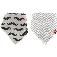 Hudson Baby Boy and Girl Bandana Bib, 2-Pack - Mustache