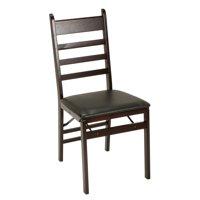 Cosco Ladder Back Wood Folding Chair, Espresso/Black, Set of 2