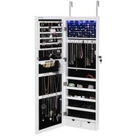 Songmics 6 LEDs Jewelry Cabinet Lockable Wall Door Mounted Jewelry Armoire