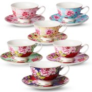54fe0bcd05 Tea Cup and Saucer Set of 6 (12 pieces), Floral Tea Cups,