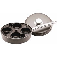 Farberware Accessories Aluminum Nonstick 4-Cup Covered Egg Poacher Skillet, Gray