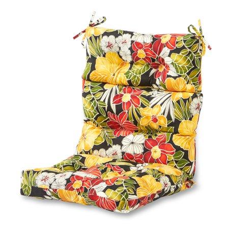 Greendale Home Fashions Aloha Floral Outdoor High Back Chair Cushion - High Back Patio Chair Cushions