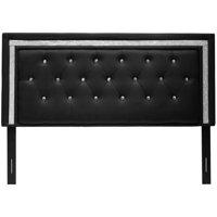 Best Master Furniture Tufted Vinyl Upholstered Headboard, Black or White