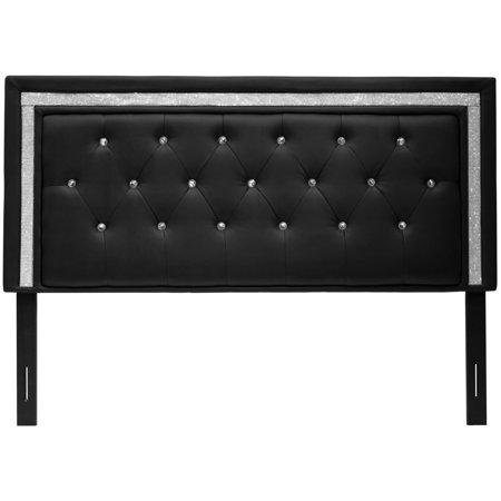 Best Master Furniture Tufted Vinyl Upholstered Headboard, Black or White