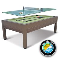 """EastPoint Sports 84"""" Outdoor Billiard Pool Table with Table Tennis Top, Wicker"""