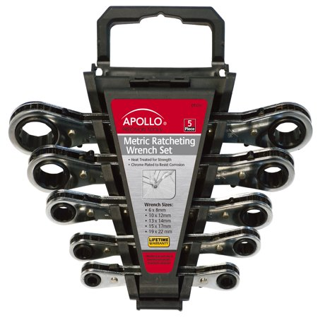 Apollo Tools DT1213 5-Piece Ratcheting Wrench Set