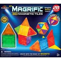 Magrific 28 Piece Multi-color Magnetic Tiles Set