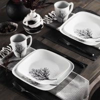 Corelle Square Timber Shadows 16-Piece Dinnerware Set