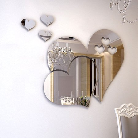 - Outgeek 3D Mirror Heart Shaped Wall Decal Stickers Lovely DIY Art Mural Decoration for Bedroom Living Room Bathroom Home