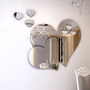Outgeek 3D Mirror Heart Shaped Wall Decal Stickers Lovely DIY Art Mural Decoration for Bedroom Living