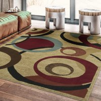 Ottomanson Royal Collection Contemporary Abstract Circle Area Rug, Beige