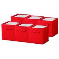 Sorbus Foldable Storage Cube Basket Bin, 6pk, Red