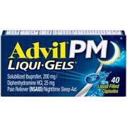 Advil PM (40 Count) Pain Reliever / Nighttime Sleep Aid Liquid Filled Capsule, 200mg Ibuprofen, 38mg Diphenhydramine