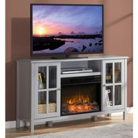 "Flamelux Langley 55.5"" In. Media Electric Fireplace for TVs up to 60"", Grey"